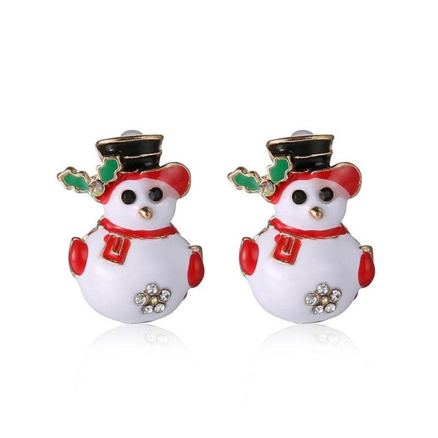 Christmas Fashionable Joker Snowman Stud Earrings Christmas fashion Snowman Earrings happy new year gift for girl