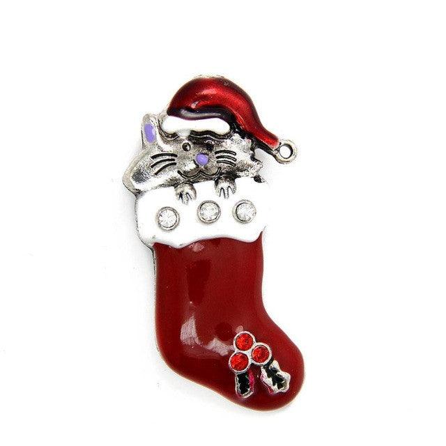 Hamster boots Christmas socks brooches gifts Great gift for christmas, holiday, party Crystal Jewelry