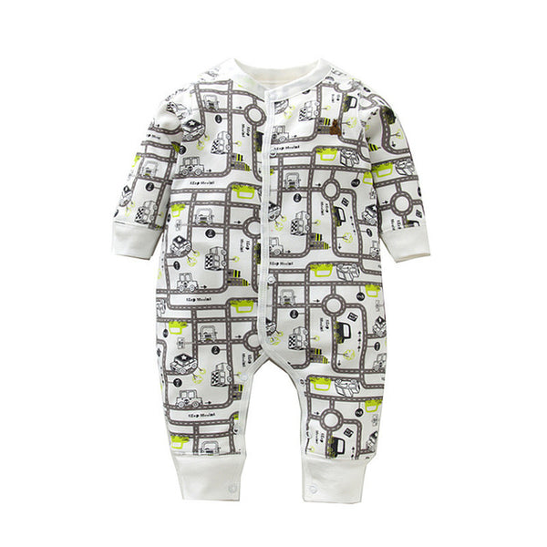 New Fashion Newborn Baby Ropmer Cartoon Car Long Sleeve Baby Boy Girl Clothes 100% Cotton Sleepwear Baby Rompers Free ship
