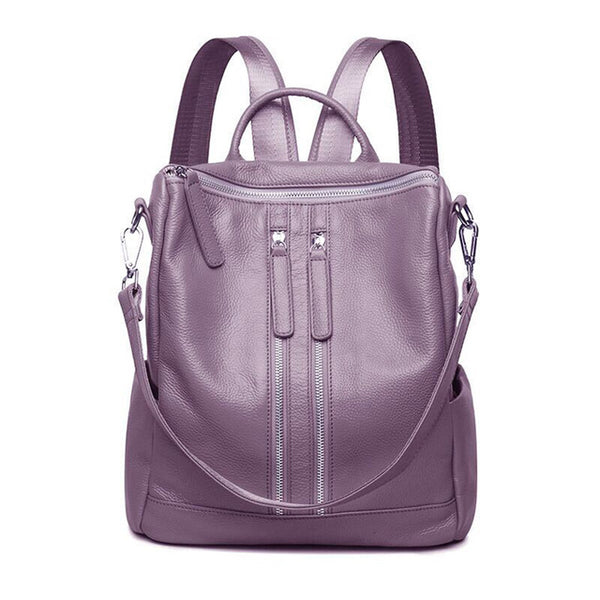 Zipper Designer Fashion Genuine Leather Women Backpack Ladies Shoulder Bags Girl School Bag Bolsas Mochilas Femininas
