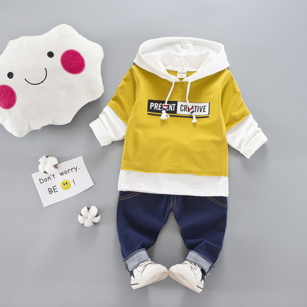 New autumn fashion Childrens baby Boys/Girls clothes Suit Newborn Cotton Hooded Jacket+Jeans Pants 2pcs Sets Baby Clothes