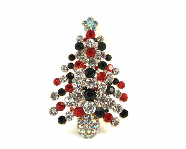 Christmas Tree Brooch A wonderful Christmas gift for your families or friends Alloy + plating +inlaid sparking multi-colored #45