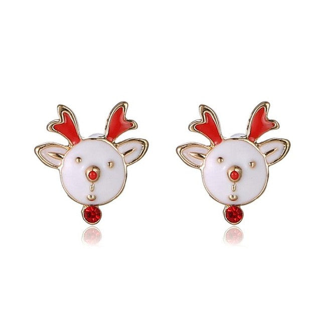 Christmas Gifts Cute Animal Stud Earrings New Santa Claus earrings for christmas gift Lovely Colorful Fawn Bow Stud Earrings