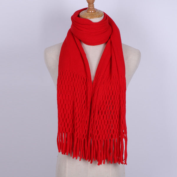 Knit Scarf For Women Winter Warm Cotton Multifunctional Sweater Neck Solid Color Magic Long Tassel Scarves For Girls