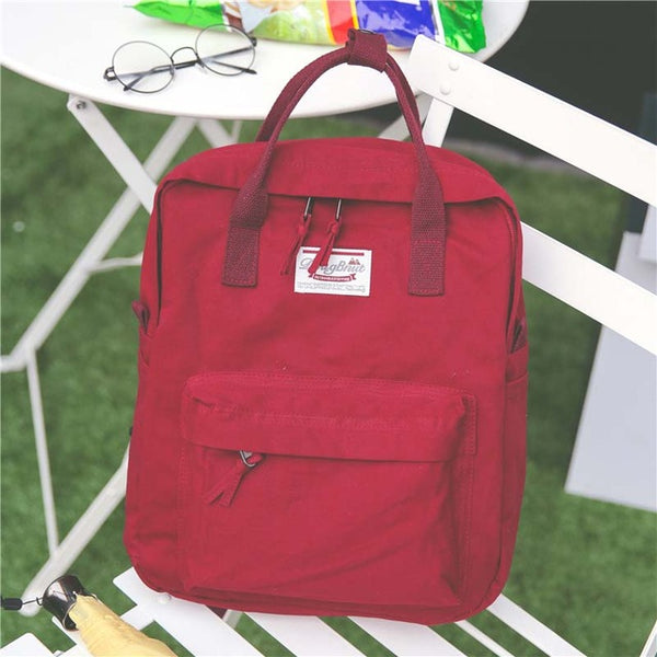 Women Backpack for School Teenagers Girls Vintage Stylish School Bag Ladies Cotton Fabric Backpack Female Bookbag Mochila
