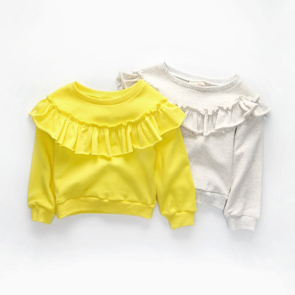 top quality cotton girls long sleeve t shirts autumn baby girl sweatshirts solid color ruffles design tops for girl