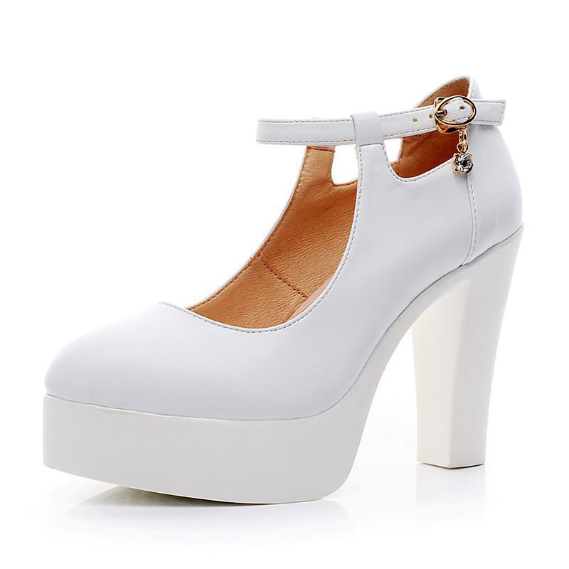 07890a80abd women White wedding shoes high heel platform shoes women s shoes thick  bottom buckle pumps sy- ...