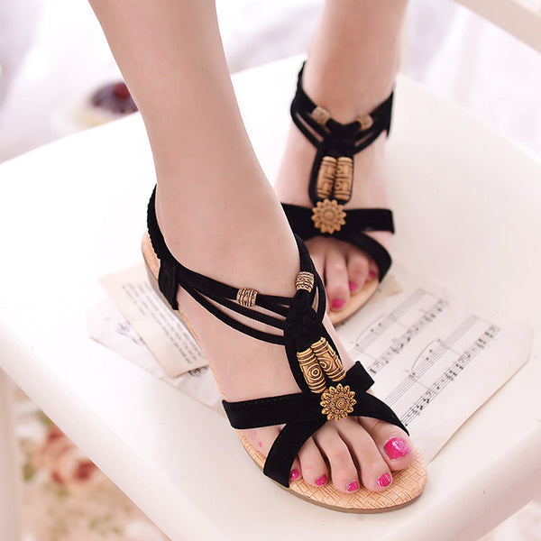 Women Wedge Sandals Shoes Women Summer Sandals 2016 New Ankle-strap Gladiator Sandals Women Ladies Shoes Black
