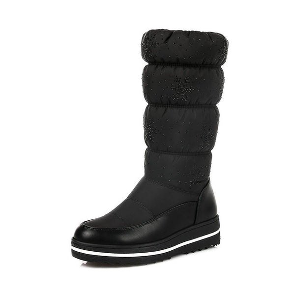 Women Mid Calf Boots Wedge Med Heel Round Toe Winter Shoes Women Snowflake  Elastic band Ladies Snow Boots Size 34-43