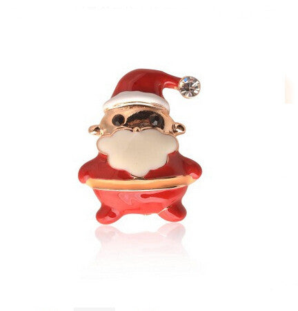 Goldtone Red And White Enamel Christmas Santa Claus Pin / Brooch Glitter A wonderful Christmas gift for your families #45