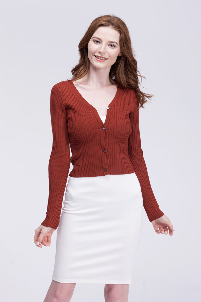 Women spring autumn long sleeve knitting sweater cardigan with buttons V neck
