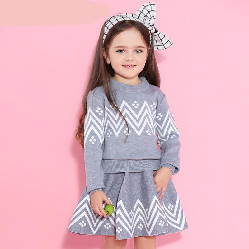 Girls Skirt Sets New Autumn&Winter Geometric Pattern Long Sleeve Sweater+Skirt 2pcs Knitwear Sets For 3-7 Years