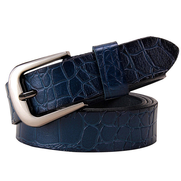 Blue Thin Belts for Women jeans Cow Genuine leather belt woman High quality Second layer cowhide Fashion Pin buckle strap female