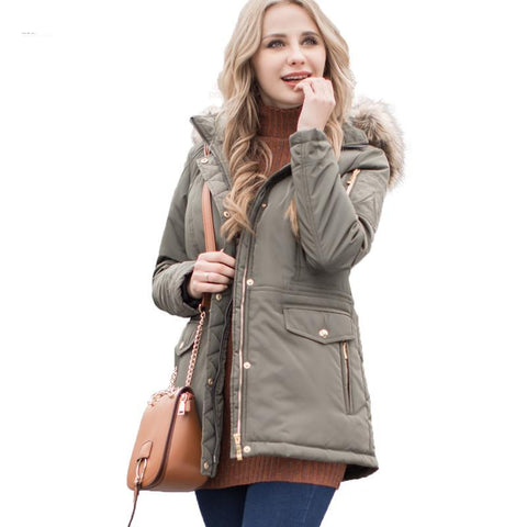 Women Parkas Autumn Winter Ladies jacket army green coat nice fake fur removable hood plus size 5XL 7XL outerwear