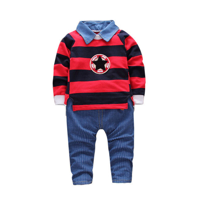 Autumn Baby Boys Kids Infants Bebe Striped star Sweatshirt Pullovers Tops+Denim Jeans Long Pants 2pcs Clothing Set 2Colors