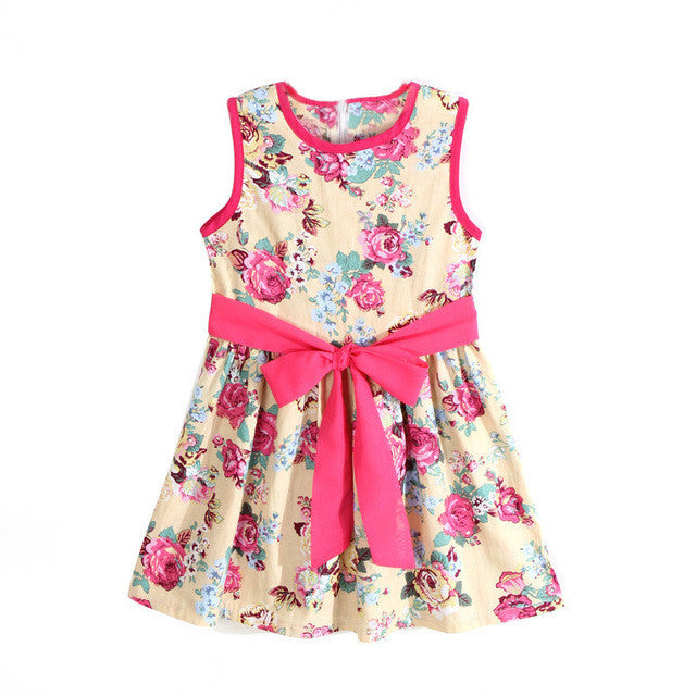 Kids Dresses For Girls Summer Style Flower Princess Dress, Kids Girls Clothes, Bohemia Sleeveless Bowknot Floral Dress Girl