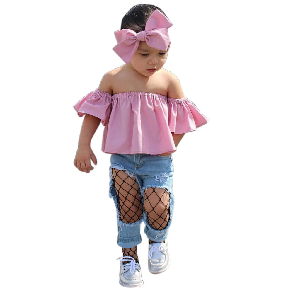 2017 Summer Fashion Toddler Baby Clothes Ruffles Off Shoulder Solid Color  Kids T-shirt Blusa ... 1280fe9c3a5a
