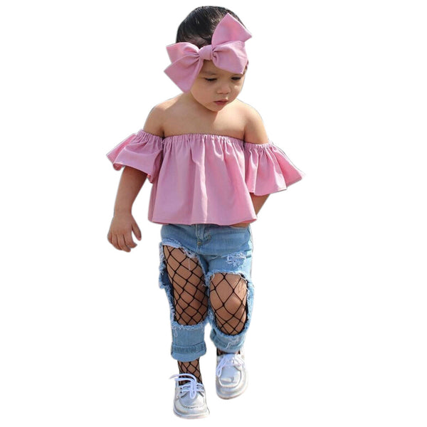 2017 Summer Fashion Toddler Baby Clothes Ruffles Off Shoulder Solid Color Kids T-shirt Blusa Tops+ Bow Headband 2PCS Outfits