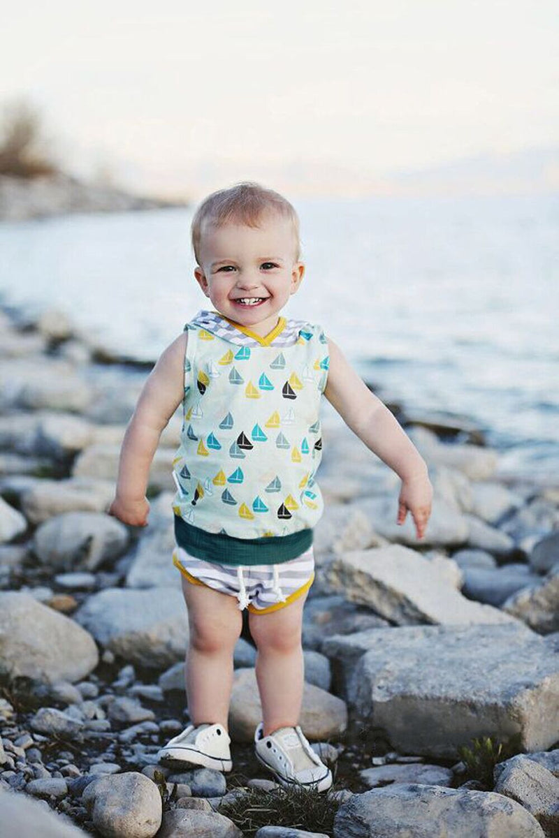 Newborn Baby Boys sleeveless pullover Set Summer Hoodie+Short Pants Kids Outfit Children Costume 2pcs Toddler Set Suits