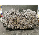Gold Silver Evening Bag Rose Flower Holiday Party Clutch Purse Crystal Bag Stylish Day Clutches Prom Ladies Handbag SC427