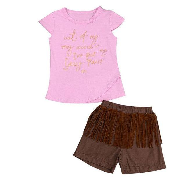 2017 Toddler Kids Baby Girls Clothes Summer Short Sleeve T-Shirt + Tassel Short Hot Pant 2pcs Outfit Fashion Kids Clothing Set