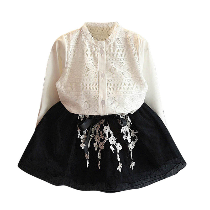 Autumn spring Children Baby kid's girls long sleeve Hollow out pattern shirt Tops+lace mesh skirts 2 pcs Clothes Set Suit