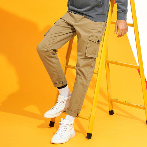 new cargo pants men brand clothing solid Multi-Pocket casual trousers men quality stretch khaki dark grey AXX705087
