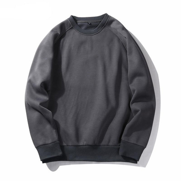Winter New Men's Hoodies Warm Thick Mens Sweatshirt Fashion Solid O-neck Tracksuit for Men Loose Pullovers MWW047