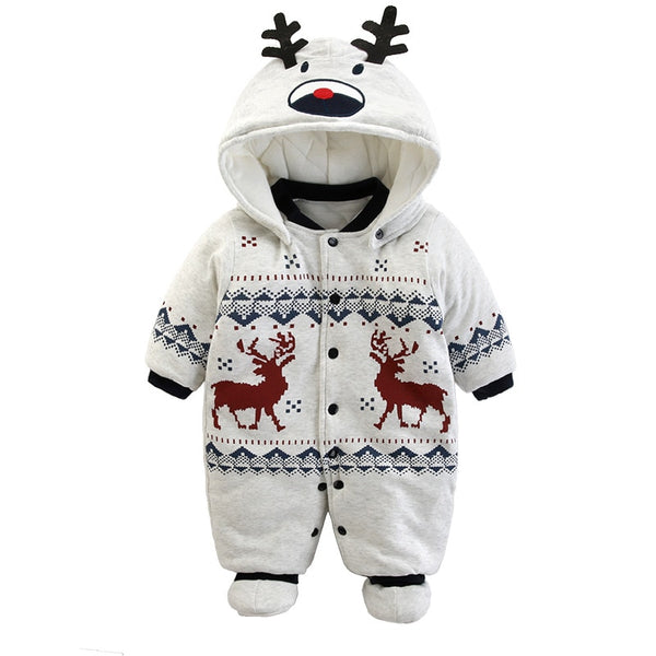 New Baby Rompers Winter Thick Warm Baby boy Clothing Long Sleeve Hooded Jumpsuit Kids Newborn Outwear for 0-12M