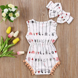 Babies Girl Clothing White Sleeveless Suit Newborn Toddler Baby Girls Arrow Bodysuit  Jumpsuit Outfit Clothes 0-24M