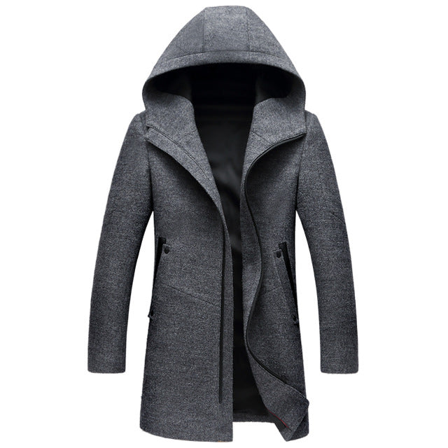 Men's Wool Coats Jackets Winter Cashmere Hooded Jacket Man Brand Mens Fashion Outerwear Warm Zipper Overcoat Woolen Pea Coat 3XL