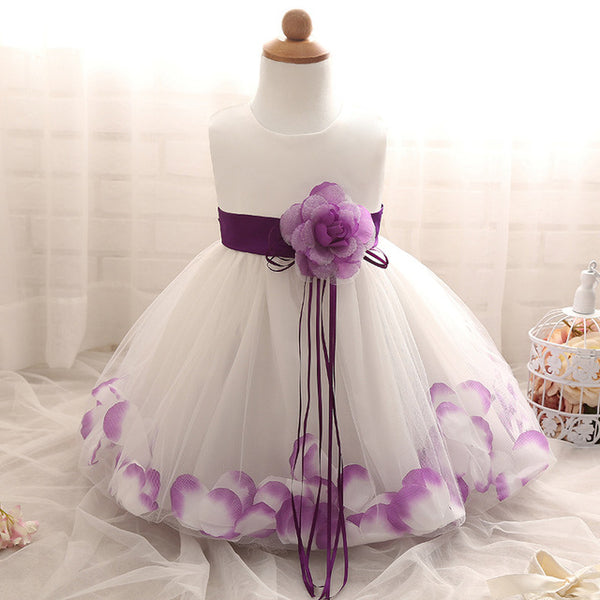 Flower Girls Dress Rose Petals Princess Party Wedding Dress for Kids Baby Toddlers First Communion Tutu Dress up Clothes