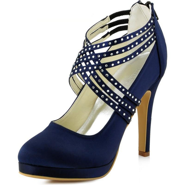 Women High Heel Shoes Wedding Platform Navy Blue Cross Strap crystal Satin prom party Bridal Pumps EP11085 Silver white ivory