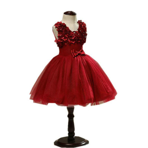Romantic Kids Evening Gown Red Color Flower Girl Dresses for Wedding First Communion Dresses For Girls Pageant Dresses for Girls