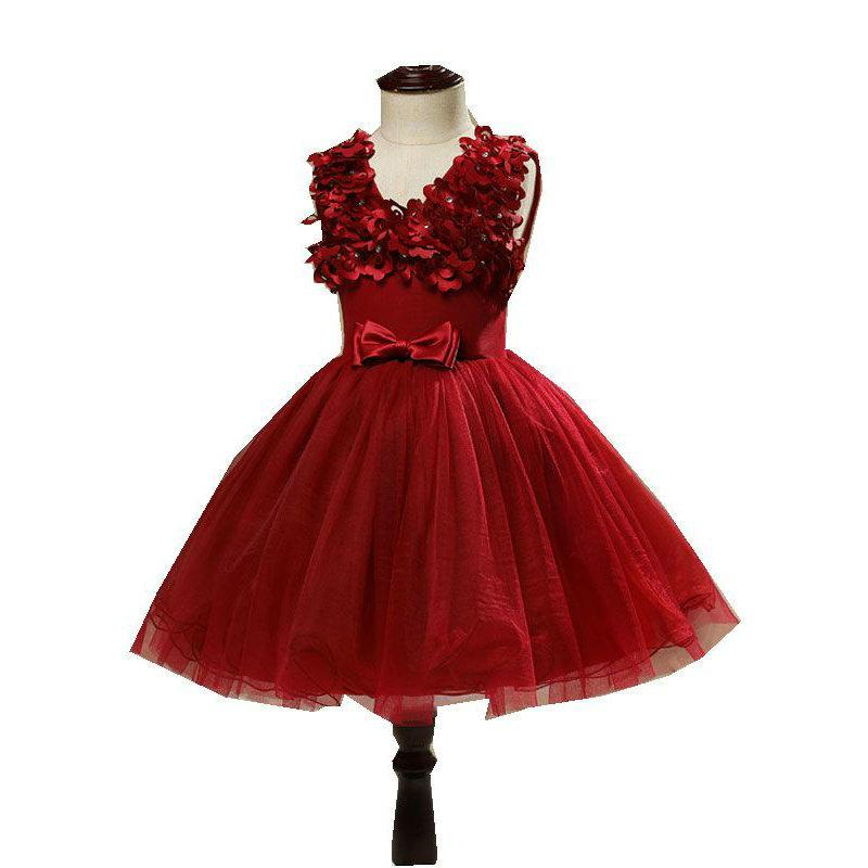 Romantic Kids Evening Gown Red Color Flower Girl Dresses for Wedding ...