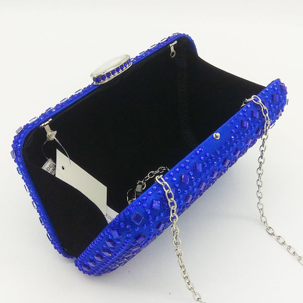 Rhinestone Crystal Clutch Purse Women Evening Bag Wedding Party Prom Chain Shoulder Crossbody Handbag