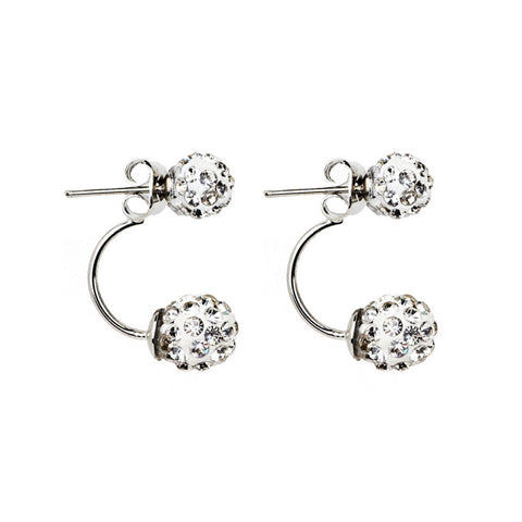 Hollow Out Silver-plated pizza ball Earrings Ear Studs