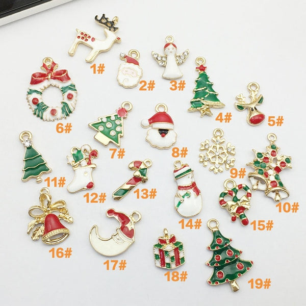 Beautiful 19PCS Mixed Christmas Hanging Ornaments DIY Jewellery Pendants Xmas Christmas Tree Decoration Festival Holiday Decor