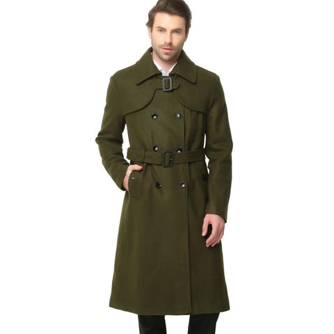 Fashion Autumn Winter Classic Men Trench Slim Wool Coats Double Button Woolen Coats Long Outwear Army Green Black