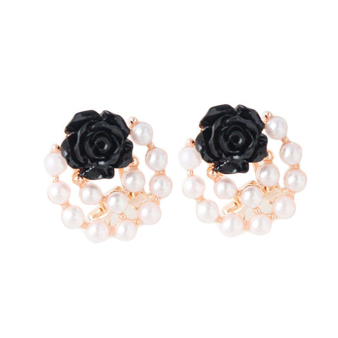 Fashion Women Ear Stud Rose Flower Earrings Jewelry Black