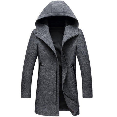 Winter Long Hooded Trench Coat Men winter Casual Men's Wool Hoodie Trench Coats Zipper Slim Fit Mens Windbreaker Pea Coat