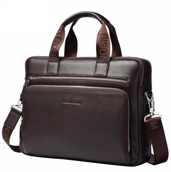 "Genuine leather Briefcases 14"" Laptop Handbag Men's Business Crossbody Bag Messenger/Shoulder Bags for Men N2333"