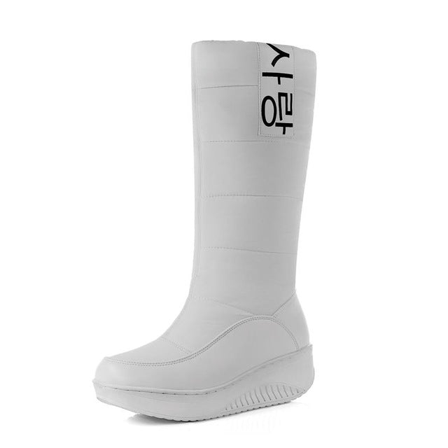 snow boots wedges heels slip on women winter boots fur inside mid calf boots sweet shoes