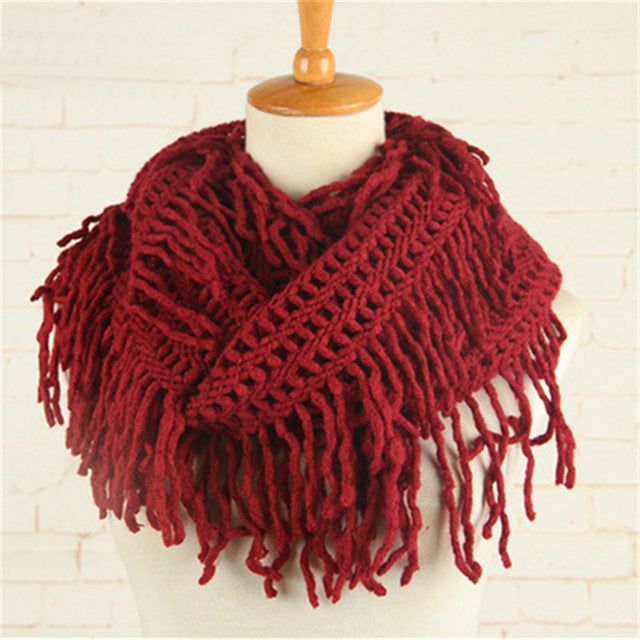 Crochet Snood Scarf Hallow Pattern Knitted Infinity Scarves Women
