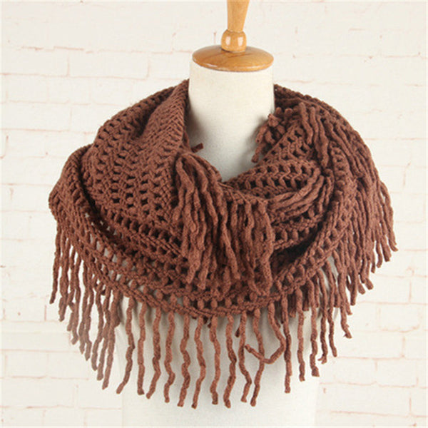 Crochet Snood Scarf Hallow Pattern Knitted Infinity Scarves Women Solid Tassel Ring Tube Shawls LIC Cashmere Circle Collar YG486