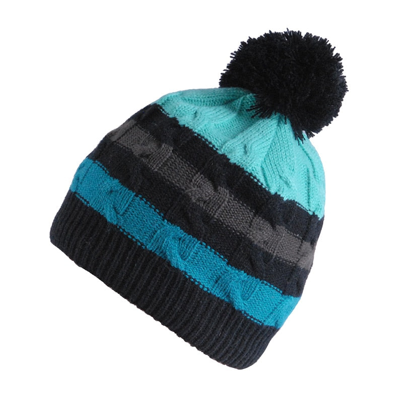 Skiing Hat Striped Blue Cap Thermal Hat New In Cap Free Size Acrylic Running Cap