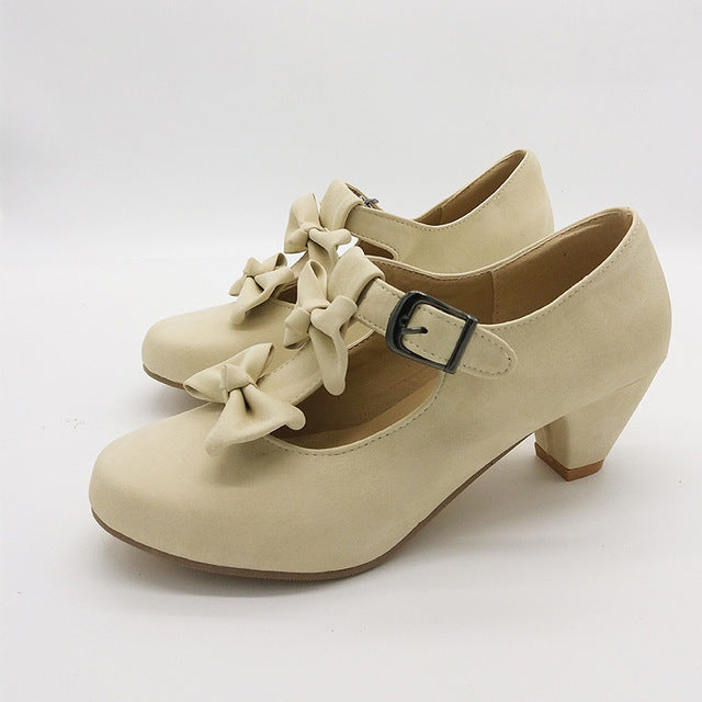 5dd315a4a55 ... Women Sweet Bow Lolita Low Heel Dress Shoes Pumps Student Party Shoes  Round Toe Ladies Pumps ...