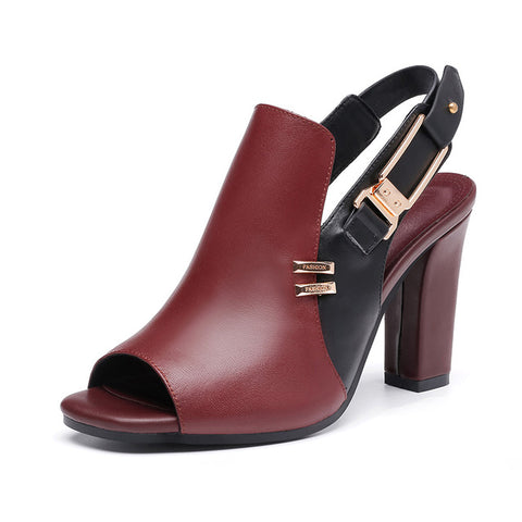 Woman Sandals Genuine Leather Casual Shoes Super High Heel Shoes with Metal Decoration E080