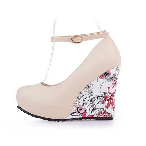 Fashion Women Pumps High Heels Wedges Platform Summer Pumps For Women Elegant Flower Print Wedge Wedding Shoes