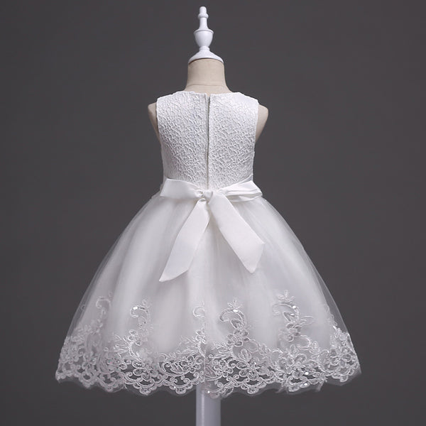 Lovely Lace Appliques Beaded Flower Girl Dresses Kids Evening Gowns For Wedding First Communion Dresses vestido comunion